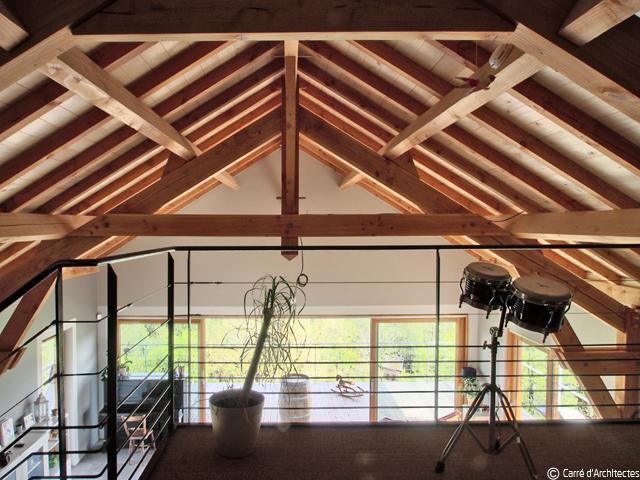 08_maison bois luzech mezzanine côté salon